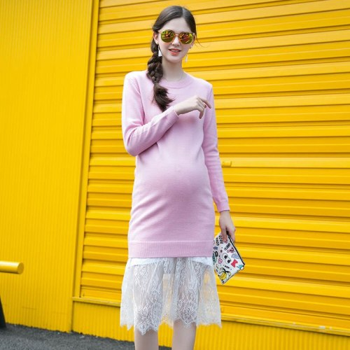 Maternity Knit Dress Solid Color Sweater Bottoming Maternity Clothes Autumn Long Sleeve Cotton Pregnant Dress Maternity Dress