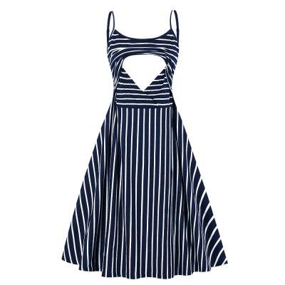 Summer Striped stitching print dresses Maternity clothes sleeveless Breastfeeding dress pregnant women dresses