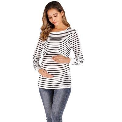 Pregnant Women Autumn New  Classic Striped Long Sleeve Nursing Wear Confinement Fashion Simple Pregnant Women Tops