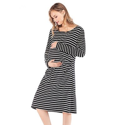 Autumn Maternity Breastfeeding Nursing Nightgowns Mothers Nightwear Breastfeeding Pajamas