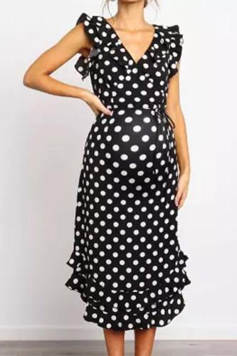Maternity V Neck Ruffled Wave Dress