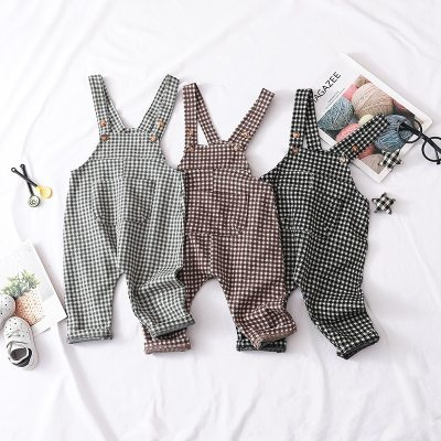 Baby Boy Clothes Autumn Toddler Girl Jumpsuit Cotton Baby Boy Plaid Overalls Kids Girls Overalls Girl Knitted Pants
