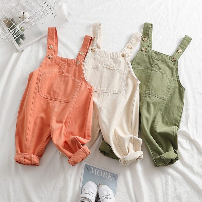 Toddler Girls Overalls 2020 Spring Autumn Fashion Jumpsuit for Girls 1 2 3 4 Years Baby Boys Pants Casual Pocket Kids Trousers