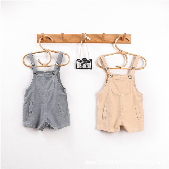 Summer Kids Strap Shorts 2021 New Linen Cotton Bebe Jumpsuit Shorts Loose Casual Baby Overalls
