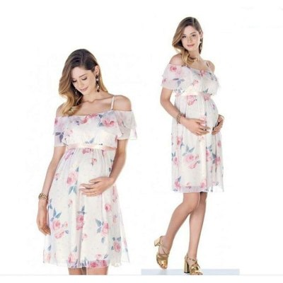 Maternity Summer Floral Maternity Gown Photography Photo Shoot Dress