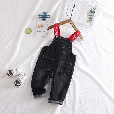 Girls Jumpsuit Fashion Korean Casual Letters Denim Overalls for Boys Newborn Baby Toddler Boys Suspenders Jeans Kids Pants
