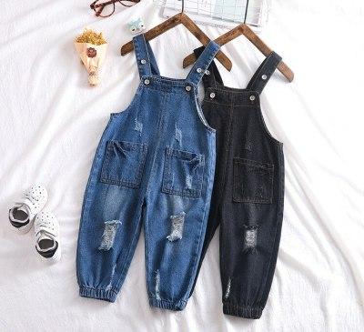 2021 autumn baby boys hole denim overall kids bodyjump infant overall baby girl overall kids jeans