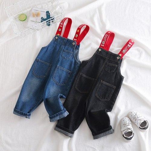Girls Jumpsuit Fashion Korean Casual Letters Denim Overalls for Boys Newborn Baby Toddler Boys Suspenders Jeans Kids Pants