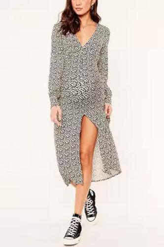 Maternity Fashion Deep V-Neck Long Sleeve Printed Slit Dress