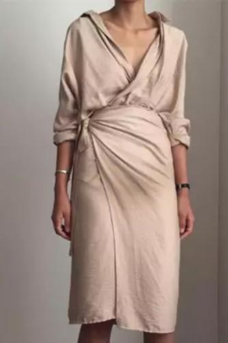 Maternity Autumn And Winter New V-Neck Long Sleeve Dress