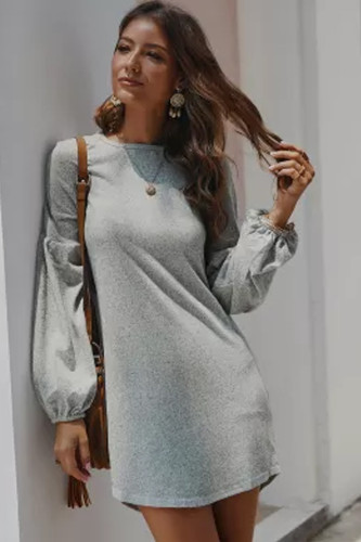 Knitted Women Above Knee Length Full Sleeve Dresses Sweet Solid Casual Women Dress