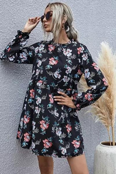 New Autumn Winter Fashion Floral Dress Women Casual Full Sleeve High Waist Loose Print Dress