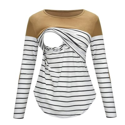 Women Maternity Long Sleeve Striped Nursing Tops T-shirt For Breastfeeding T-Shirts for Pregnant Women Maternity Clothes