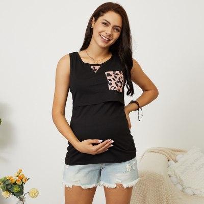 Spring / summer 2021 new pregnant women's round neck sleeveless stitching pocket leopard vest breastfeeding T-shirt for women