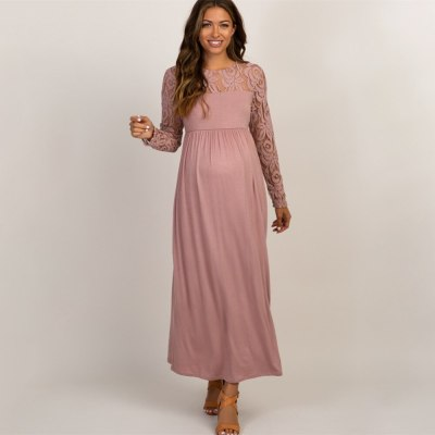 Autumn Lace Pregnancy Dress Long Sleeve Maternity Gown Nursing Dresses Pregnant  Baby Showers