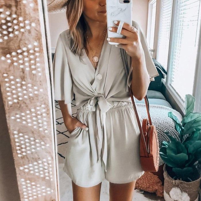 Fashion Bodysuit For Women Knot Bandage Flare Sleeve Jumpsuit Bodysuit V-Neck Solid Romper