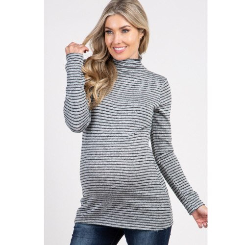 2021 Autumn New Striped Turtleneck Long Sleeve T-shirt Maternity Dress
