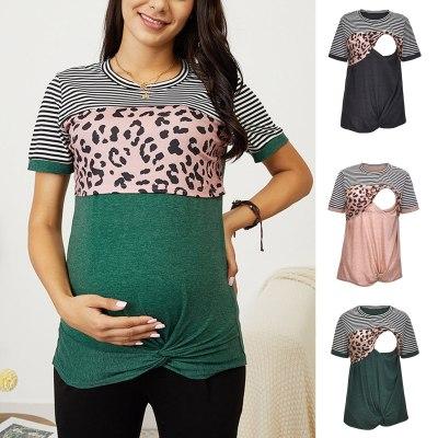 New Women Maternity Casual T Shirt Breastfeeding Clothes Short Sleeve Nursing Top Casual Stripe Pregnant Tshirt Clothes Maternid