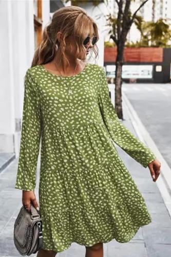Autumn Winter Temperament Print Dress Women Casual Button A Line Loose Knee Length Dress