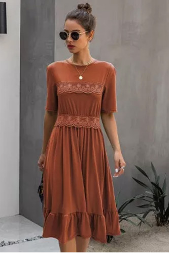 New Spring Summer Dress Women Lace Casual O-neck Solid High Waist Knee-length Dress