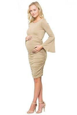 Maternity dress Autumn Winter Pregnancy clothing Boat-Neck Cotton Maternity Speaker long sleeve dresses