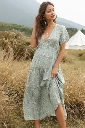 Summer Boho Style Long Print Dress Women Sexy Deep V-neck Ruffled Floral Dress
