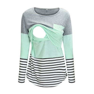 Ladies Women Pregnant Maternity Nursing Tops Mom Breastfeeding T-Shirt Long Sleeve Pacthwork Striped Casual Top Outfits
