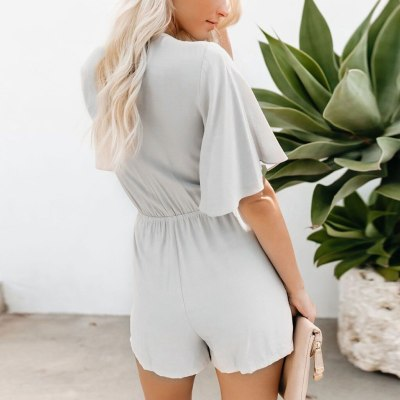 Fashion Bodysuit For Women Knot Bandage Flare Sleeve Jumpsuit Bodysuit V-Neck Solid Romper