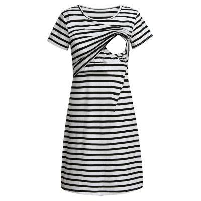 Maternity Nightwear Women Maternity Short Sleeve Stripe Nursing Baby Nightdress Breastfeeding Dress