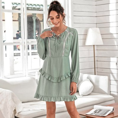 Hollow Out Ruffle Dress For Women Spring 2021 Lace Up Puff Sleeve O Neck Ladies Casual Elegant Solid Color Pullover Dresses