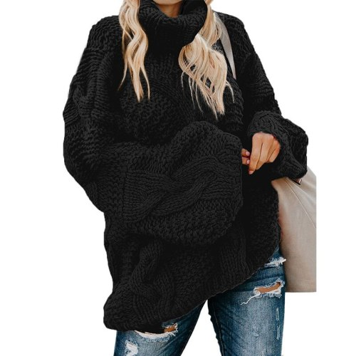 Fashion Loose Pullover Sweater Women Autumn/Winter New Cable Long-Sleeved Turtleneck Ladies Knitted Tops matenrity swaeter