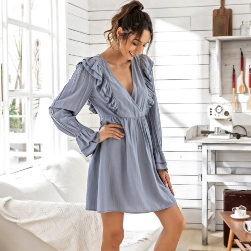 Solid color High Waist V-neck Dress Fashionable ruffled Women's Long Sleeve Dress Spring Summer Women's Dresses