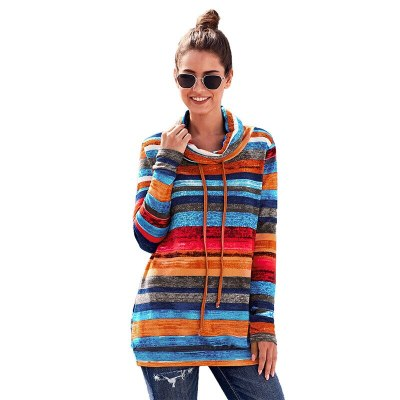 Women's Pullovers 20201 New Fashion Mid Length Striped Long Sleeved Ladies Top Turtleneck Slim Female Hoodies