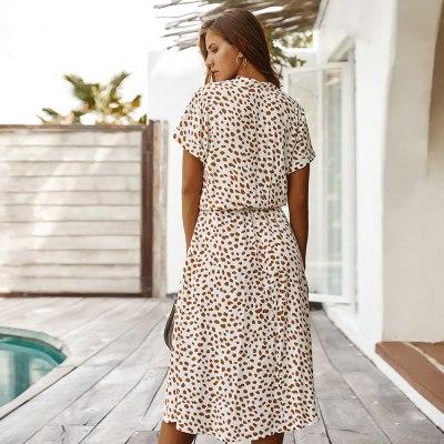 Polka Dot Print Dress Women A Line Summer Dress Short Sleeve Single-Breasted Bohemian Midi Dresses