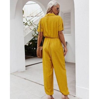 Women's V Neck High Waist Straight Elegant Office Lady Overalls  Jumpsuits
