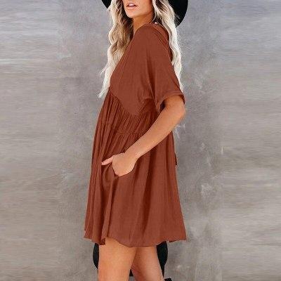 2021 Summer Women Clothes V-neck Dress Solid color vintage Black Midi Dresses