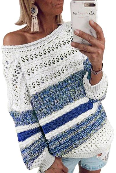 Blue/Purple/Brown Loose Openwork Round Neck Sweater Women Fashion Casual Colorful Striped Comfy Pullover