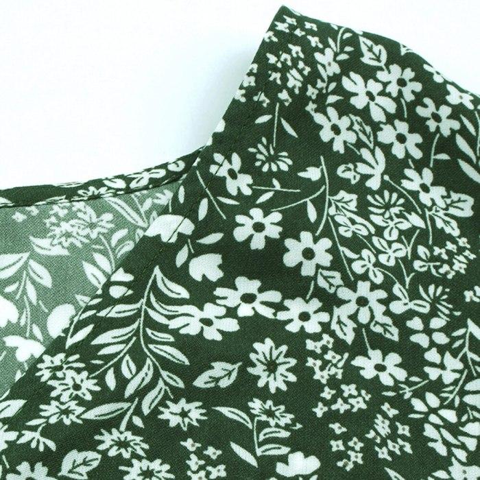 Women's Mini Dress  Floral Print Dresses for Women Long Sleeve Lace Up V Neck Vintage Dress