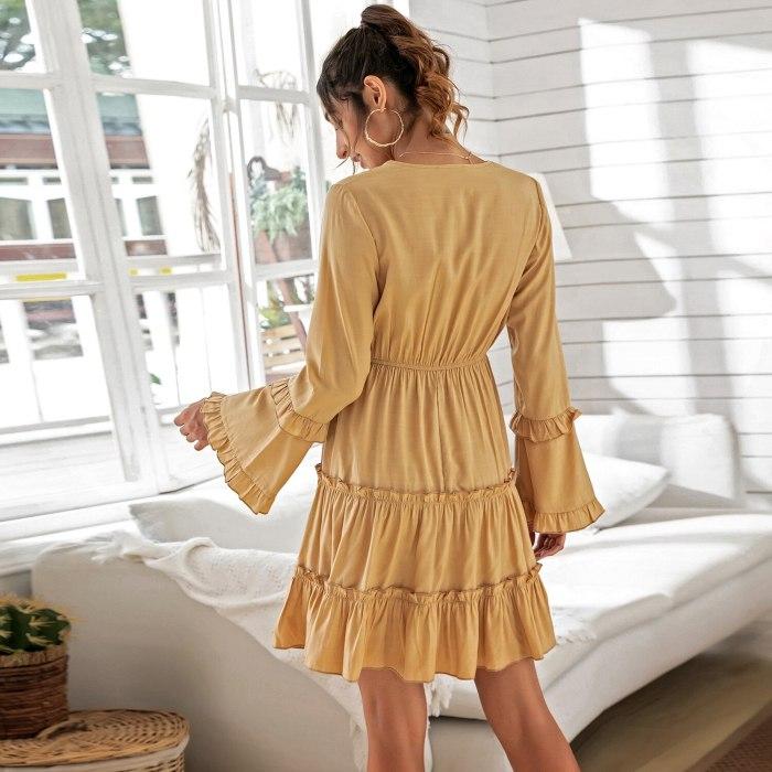 2021 Ruffles Sexy Dress Women Spring Clothes New Long Sleeves V-Neck High Waist Slim Elastic Waist Flared Sleeve Women Dress
