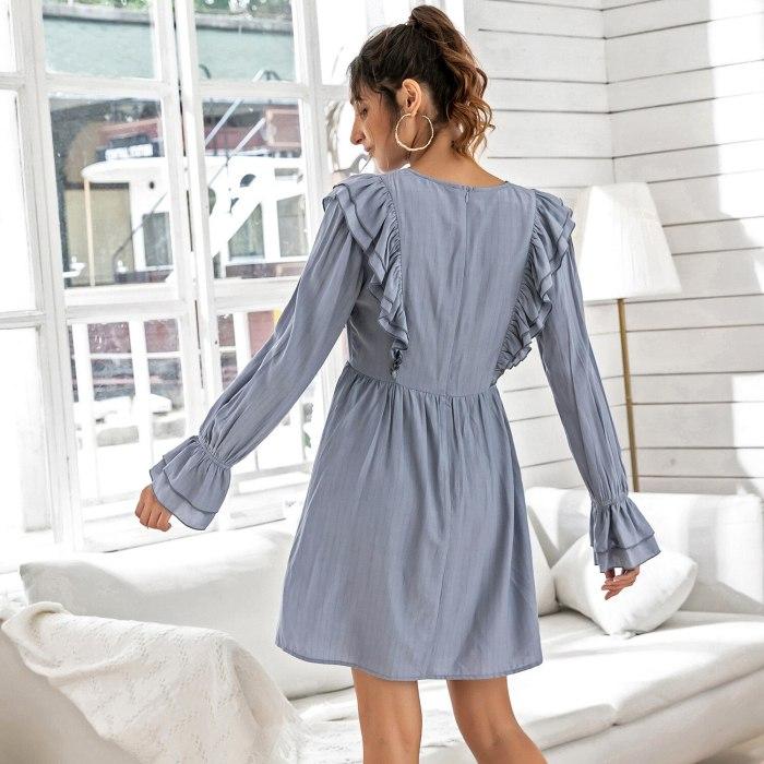 Solid color High Waist V-neck Dress Fashionable ruffled Women's Long Sleeve Dress Spring Summer Women's Dresses