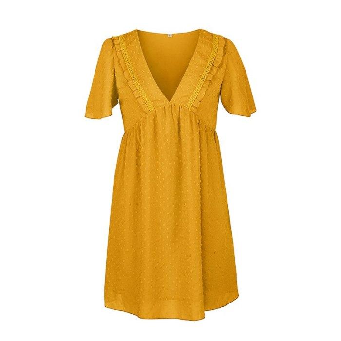 Sexy V Neck Solid Dress Women Casual High Waist Jacquard Short Sleeve Dress