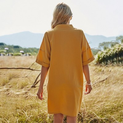 Spring New Solid Color Half Sleeve Short Dress Women Loose Pocket V Neck Elegant Dress For Women 2021 Summer Dress