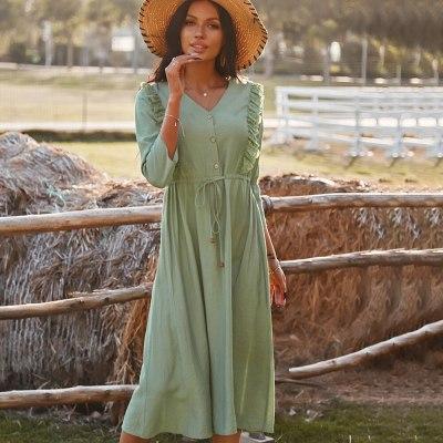 2021 Spring Summer Button Up Lace Up V Neck Ladies Casual Patchwork Elegant Dresses