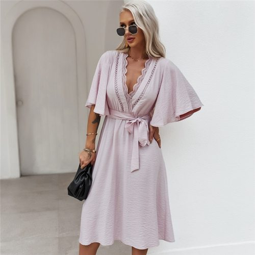 2021 Sexy Lace Bandage Dress Women Spring Summer Fashion Butterfly Sleeve Dress
