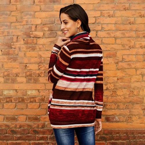 Women's Pullovers 20201 New Fashion Mid Length Striped Long Sleeved Ladies Top Turtleneck Slim Female Hoodies