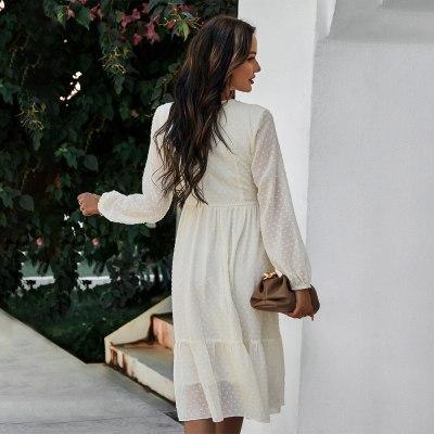 2021 Elegant Casual Chiffon Women  Dress V Neck Long Sleeve Swing Female Midi Dresses