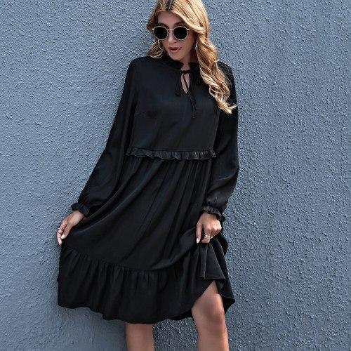 2021 New Spring Lantern Sleeve V Neck Lace Up Ladies Casual Elegant Vintage Pullover Midi Dresses