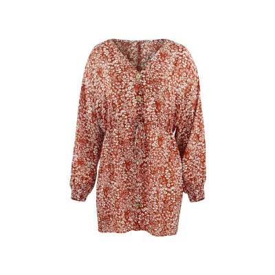 Women's Mini Dress  Floral Print Dresses for Women Long Sleeve Lace Up V Neck Vintage Dress
