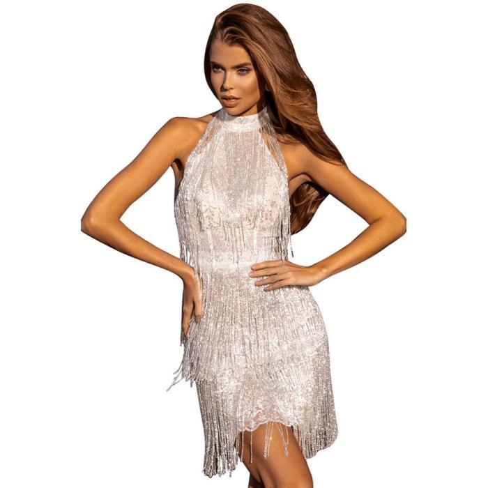Bodysuit Dress Turtleneck Backless Silver Sequin Fringed Dress DJ Dance WEAR Party Stretch Jumpsuit Outfit