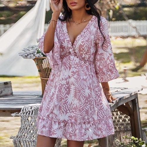 Dress Spring Woman's V-collar Printed Belt Short-style Long-sleeved Skinny Dress